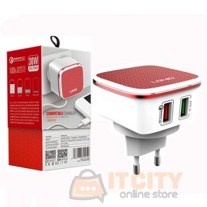 LDNIO A2405Q Dual USB Port home charger With Data Cable For Android Mobile Phone
