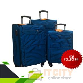 "Soft Luggage Travel Bag 4Pcs Set Blue - 20""-24""-28"