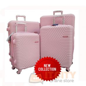 "Sumo Hard Luggage Travel Bag 3Pcs Set 20""-24""-28""-32""  - Pink"
