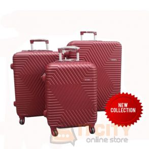"Sumo Hard Luggage Travel Bag 3Pcs Set 20""-24""-28"" - Red"