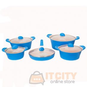 Sayona Chef 8 Pcs Scratch Proof Ceramic Cookware Set-3004 Blue