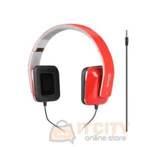 Promate Foldable Over-The-Ear Wired Stereo Headset (Sonata) - Red