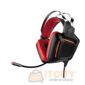 Promate Karma Dynamic Audio Immersive Over-Ear Wired Gaming Headset - Red