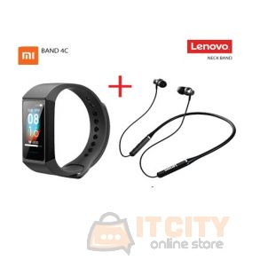 Xiaomi Mi Band 4C With Lenovo HE05 Bluetooth Earphones