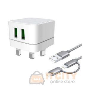 Iends (IE-AD847) Dual USB Travel Charger With 2 In 1 Cable
