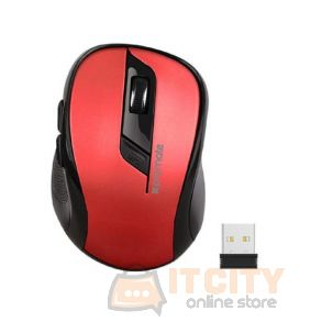 Promate Clix-7 2.4GHz Wireless Ergonomic Optical Mouse - Red