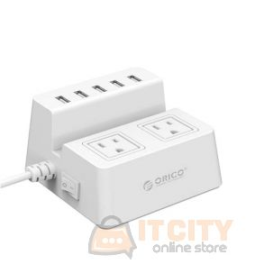 Orico (ODC-2A5U) 2 AC Outlet Surge Protector with 5 USB Charging Port