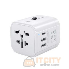 Aukey (PA-TA01) Universal Travel Adapter With USB-C and USB-A Ports - White