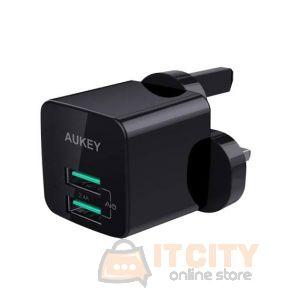 Aukey (PA-U32 BK) 12W Universal Dual Port AiPower Mini Portable Travel Charger - Black