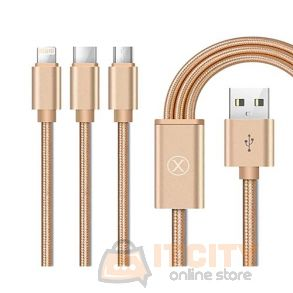 X.cell CB120MLC 3 in 1 Cable Micro USB-Lightning-Type-C -  Gold