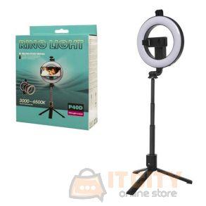 P40D Fill Light 6 Inch Ring Light Selfie Stick Tripod