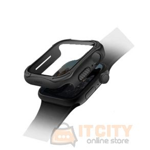 Uniq Torres Antimicrobial watch Case 9H Tempered Glass Screen protector 44MM -  Midnight Black