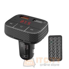 Promate Smar Tune-2+ Car Wireless FM Modulator With Quick Charge 3.0 Port - Black